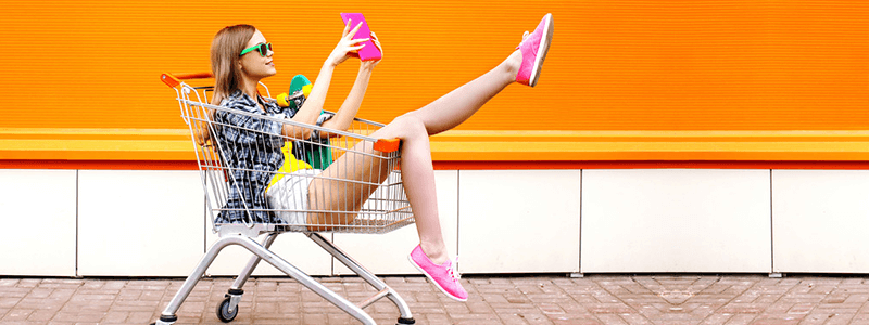 lady in cart